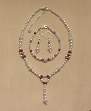 Parure bijoux mariage blanc et rouge