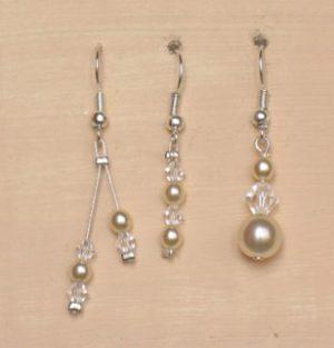 Boucles d'oreilles ivoire et cristal