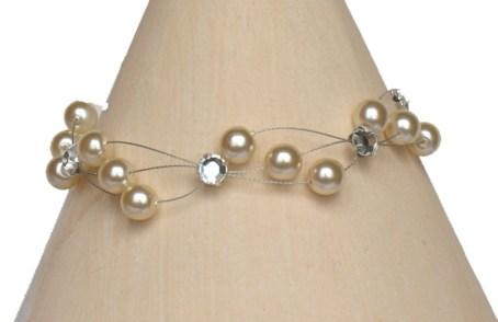 Bracelet mariage ivoire strass