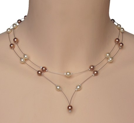 Collier mariage ivoire caramel
