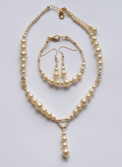 Parure mariage ivoire et or