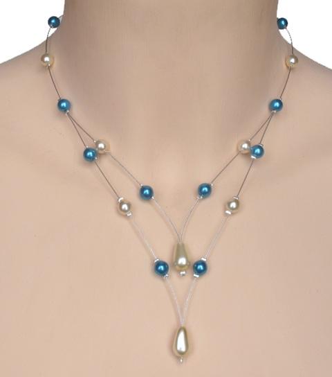 Collier mariage ivoire et bleu turquoise