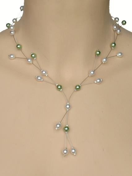 Collier mariage personnalisé en blanc et vert