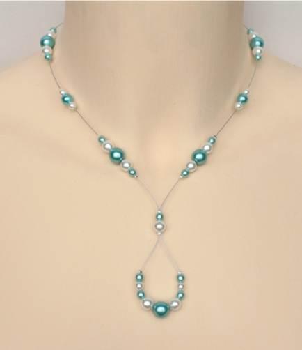 Collier mariage blanc et bleu turquoise clair