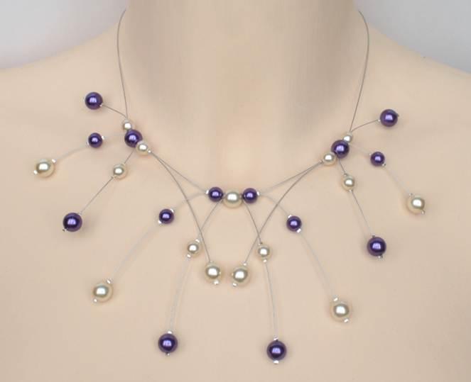 Collier mariage ivoire et violet