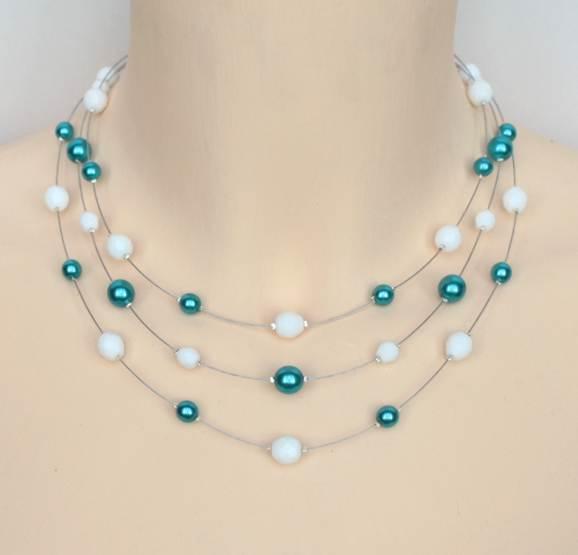 Collier mariage blanc bleu turquoise