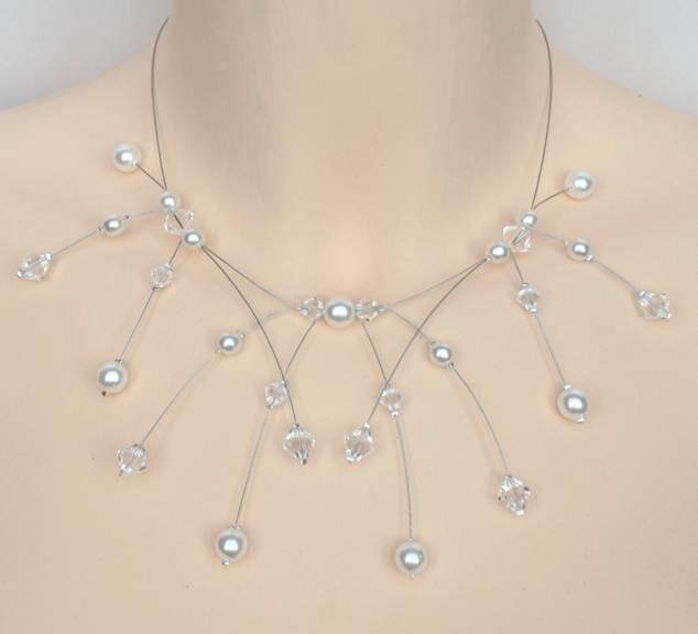Collier mariage blanc et cristal de Swarovski