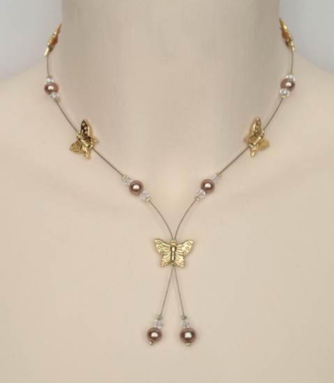 Collier mariage caramel, cristal de Swarovski papillons dorés