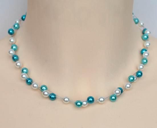 Collier mariage blanc et bleu turquoise