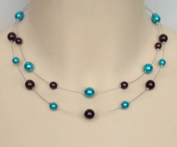 Collier mariage chocolat et turquoise