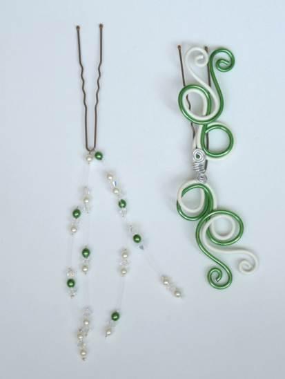 Accessoires cheveux mariage vert et blanc