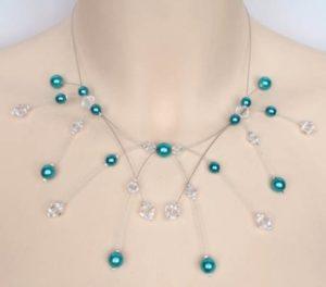 Collier mariage cristal et turquoise