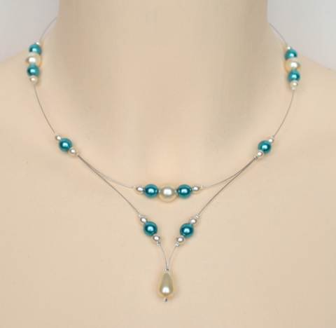 Collier mariage ivoire bleu turquoise