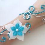 Bracelet mariage blanc bleu turquoise argent fleur