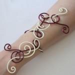Bracelet mariage vanille bordeaux