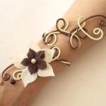 Bracelet mariage fleur vanille chocolat