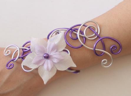 Bracelet mariage blanc parme violet argent