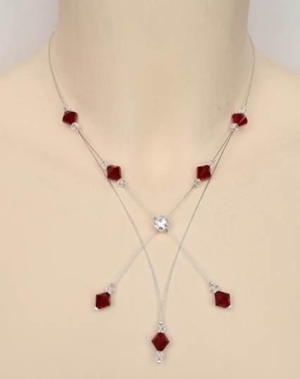 Collier mariage en cristal de Swarovski rouge foncé et strass
