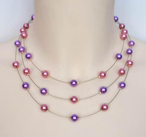 Collier mariage rose et violet