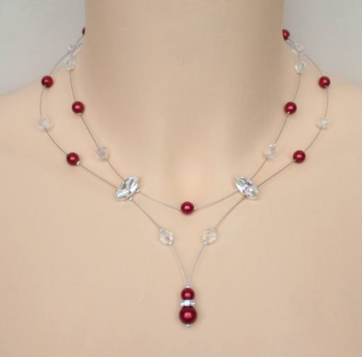 Collier mariage rouge cristal et strass