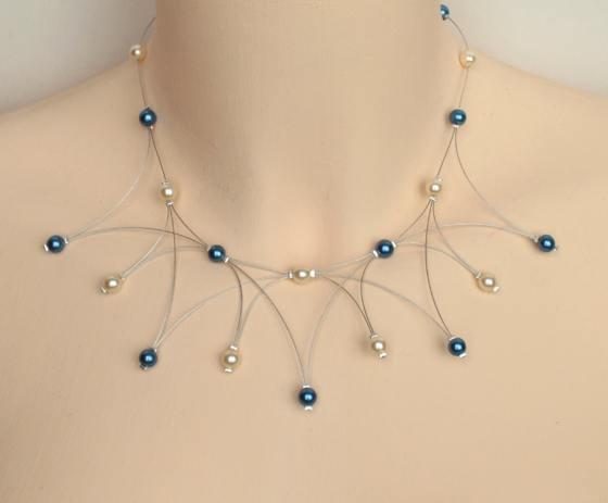 Collier mariage ivoire bleu marine