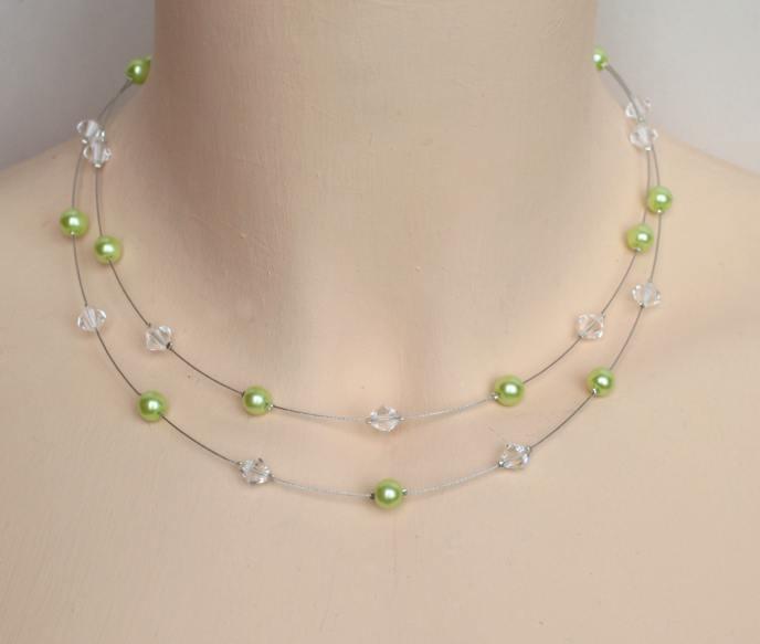 Collier mariage cristal de Swarovski et vert anis