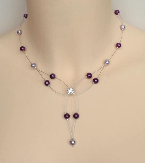 Collier mariage perles parme et violet