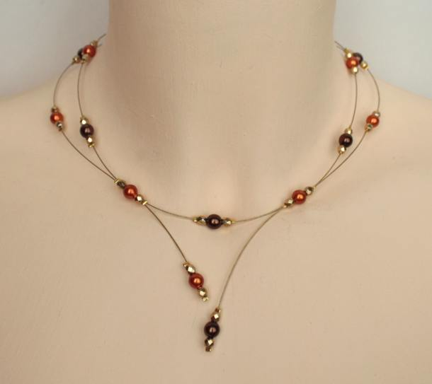 Collier mariage orange chocolat doré