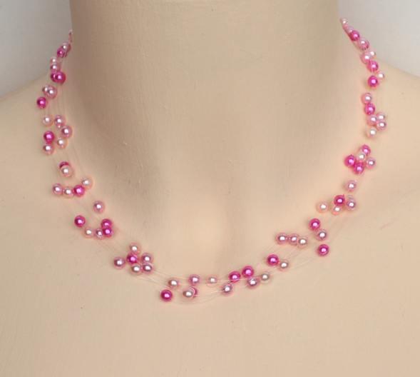 Collier mariage perles nacrées rose