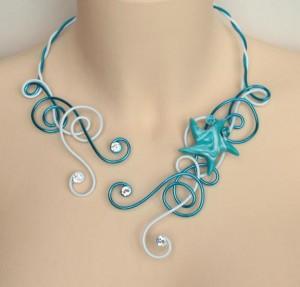 Collier mariage étoile de mer blanc bleu turquoise strass