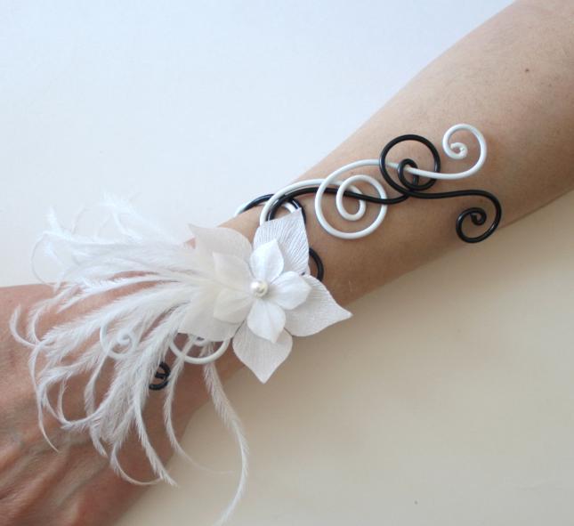 Bracelet mariage aluminium noir et blanc