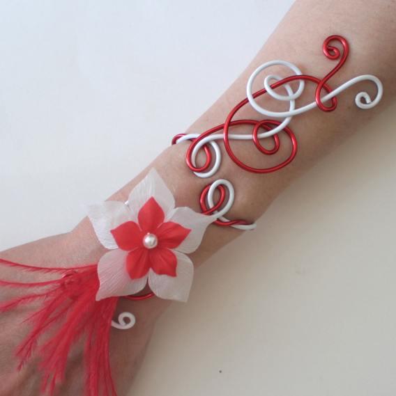 Bracelet mariage aluminium blanc et rouge