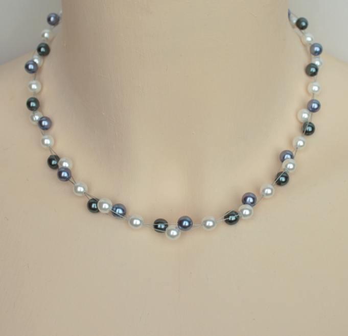 Collier mariage en perles blanches, grises, bleues