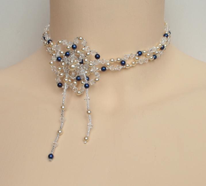 Collier mariage bleu, ivoire, cristal de Swarovski