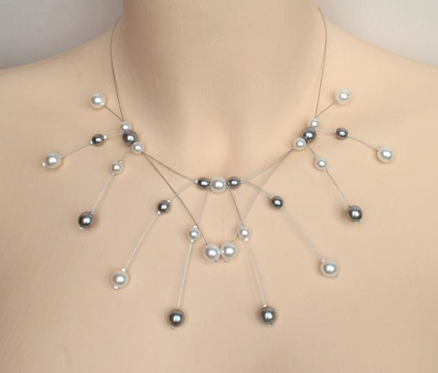 Collier mariage perles blanches et grises