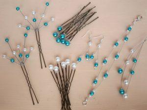 Bijoux et accessoires coiffure mariage blanc et turquoise