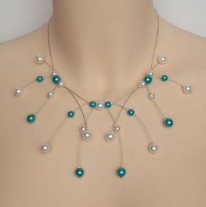 Collier mariage blanc et turquoise