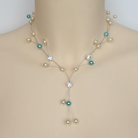 Collier mariage turquoise et ivoire + strass