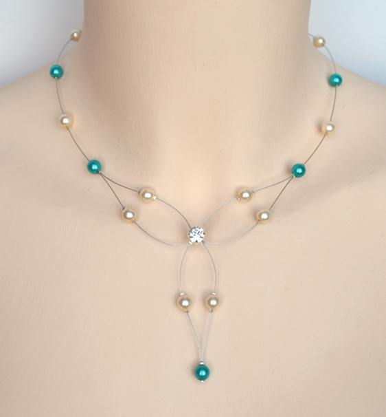 Collier mariage ivoire, turquoise + strass