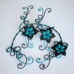 Collier_bracelet_mariage_aluminium_noir_turquoise_fleurs
