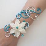 Bracelet_mariage_blanc_nacré_turquoise_fleur_ivoire