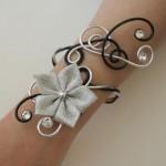 Bracelet_mariage_noir_argent_fleur