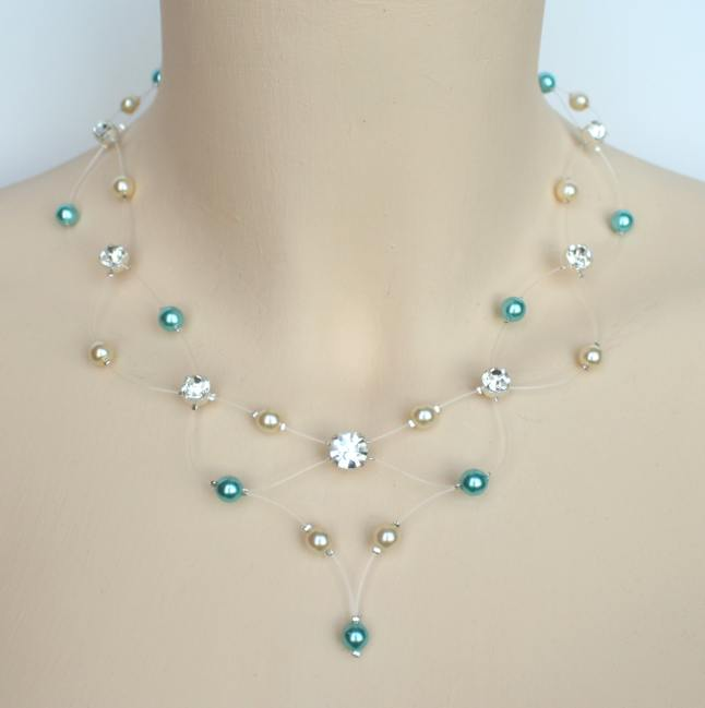 Collier mariage ivoire et turquoise clair + strass