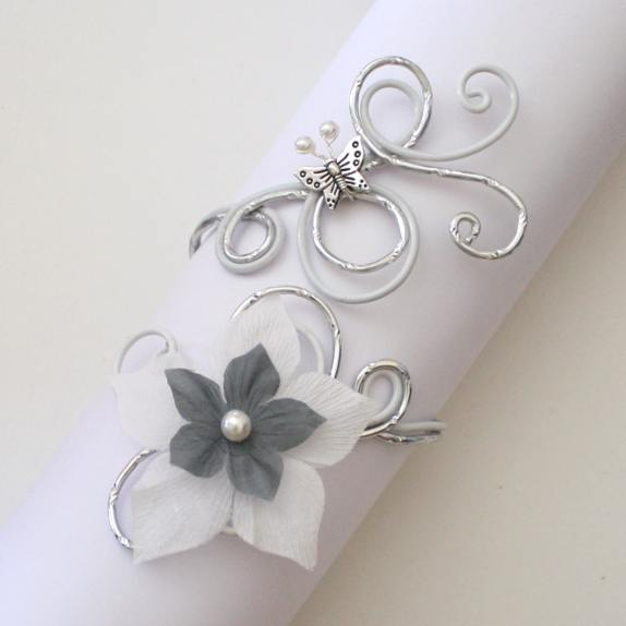Bracelet blanc, gris, argent