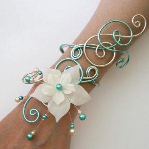 Bracelet ivoire et vert d'eau