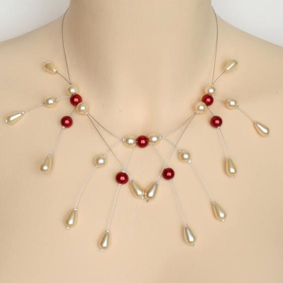 Collier ivoire et rouge