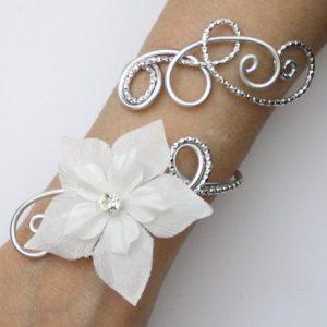Bracelet mariage argent fleur blanche