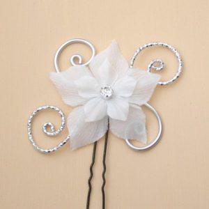 Epingle à cheveux mariage blanc et argent + fleur en soie