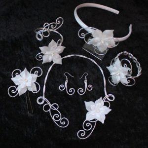 Parure mariage argent blanc fleurs