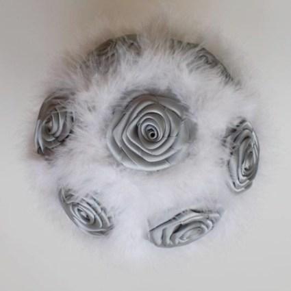 Bouquet fleur mariée blanc et gris